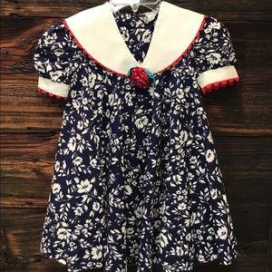 Navy, White & Red Vintage Floral Sailor Dress SZ 6